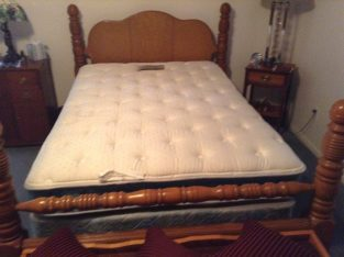 Double Simmons pillow top mattress, with 1950's 4 poster bed frame