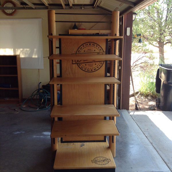 Wrangler solid oak display rack